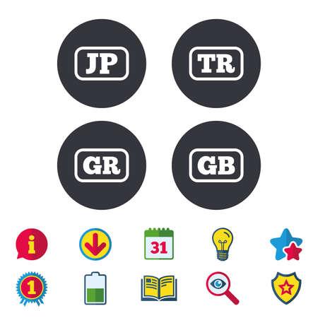 Taalpictogrammen. JP-, TR-, GR- en GB-vertaalsymbolen. Japan, Turkije, Griekenland en Engeland talen. Kalender, informatie en downloadborden. Pictogrammen voor sterren, awards en boeken. Gloeilamp, schild en zoeken
