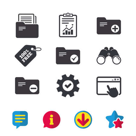 Accounting binders icons. Add or remove document folder symbol. Bookkeeping management with checkbox. Browser window, Report and Service signs. Binoculars, Information and Download icons. Vector