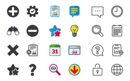 Plus- en minuspictogrammen. Verwijder en ondervraag FAQ-borden. Zoom symbool vergroten. Chat-, rapport- en kalenderborden. Sterren, Statistieken en Download pictogrammen. Vraag, klok en wereld. Vector
