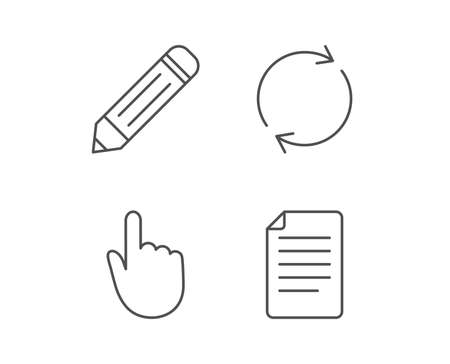 Document file, Edit and Refresh line icons. Hand cursor sign. Quality design elements. Editable stroke. Vector Ilustracja