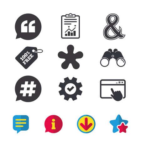 Citaat, asterisk voetnootpictogrammen. Hashtag sociale media en ampersand-symbolen. Logische operator EN teken programmeren. Spraak bubbel. Browservenster, rapport en serviceborden. Vector