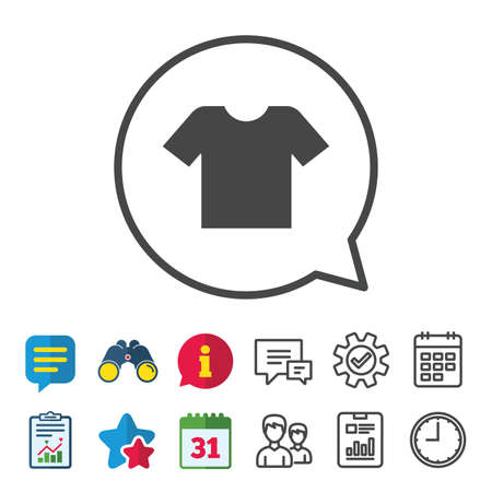 T-shirt sign icon. Clothes symbol. Information, Report and Calendar signs. Group, Service and Chat line icons. Vector