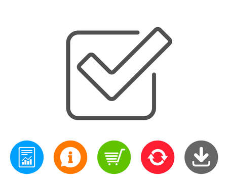 Check line icon. Approved Tick sign. Confirm, Done or Accept symbol. Report, Information and Refresh line signs. Shopping cart and Download icons. Editable stroke. Vector Ilustração