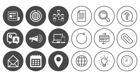 Communication icons. News, chat messages and calendar signs. E-mail, question and answer symbols. Document, Globe and Clock line signs. Lamp, Magnifier and Paper clip icons. Vector