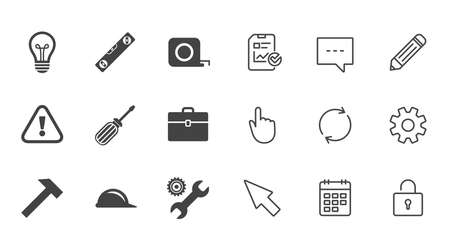 Repair, construction icons. Engineering, helmet and screwdriver signs. Lamp, electricity and attention symbols. Chat, Report and Calendar line signs. Service, Pencil and Locker icons. Vector Çizim