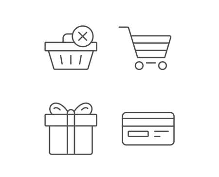 Shopping cart, Credit card and Gift box line icons. Remove product sign. Quality design elements. Editable stroke. Vector Ilustrace