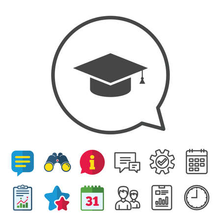 Graduation cap sign icon. Higher education symbol. Information, Report and Calendar signs. Group, Service and Chat line icons. Vector