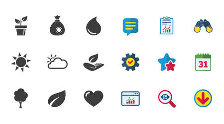 Garden sprout, leaf icons. Nature and weather signs. Sun, cloud and tree symbols. Calendar, Report and Download signs. Stars, Service and Search icons. Statistics, Binoculars and Chat. Vector