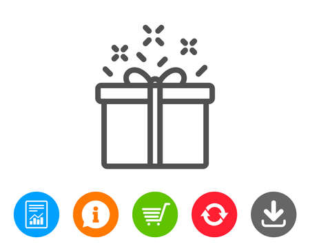 shopping chart: Gift box line icon. Present or Sale sign. Birthday Shopping symbol. Package in Gift Wrap. Report, Information and Refresh line signs. Shopping cart and Download icons. Editable stroke. Vector