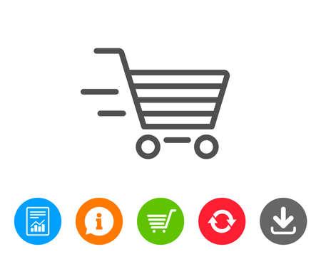 配信サービス ライン アイコン。ショッピング カートの標識です。オンライン購入を表現します。スーパー マーケット バスケットのシンボル。レポート、情報、更新行の標識。ショッピングカートとアイコンをダウンロードします。編集可能なストローク。ベクトル