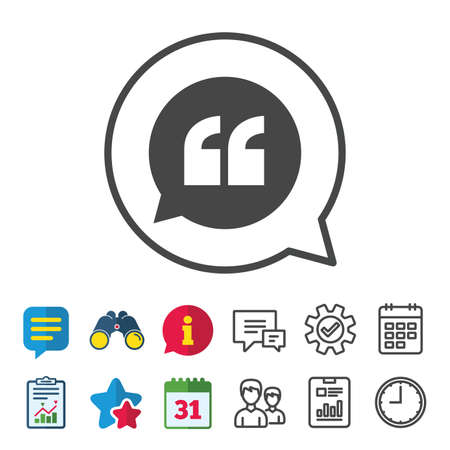 Quote sign icon. Quotation mark in speech bubble symbol. Double quotes. Information, Report and Calendar signs. Group, Service and Chat line icons. Vector