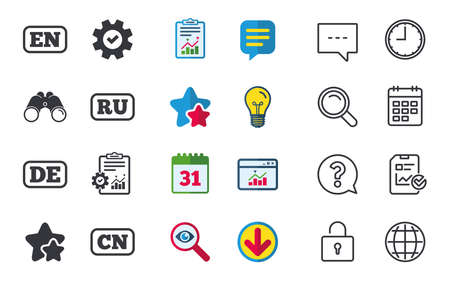 Language icons. EN, DE, RU and CN translation symbols. English, German, Russian and Chinese languages. Chat, Report and Calendar signs. Stars, Statistics and Download icons. Question, Clock and Globe
