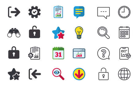 Login and Logout icons. Sign in or Sign out symbols. Lock icon. Chat, Report and Calendar signs. Stars, Statistics and Download icons. Question, Clock and Globe. Vector