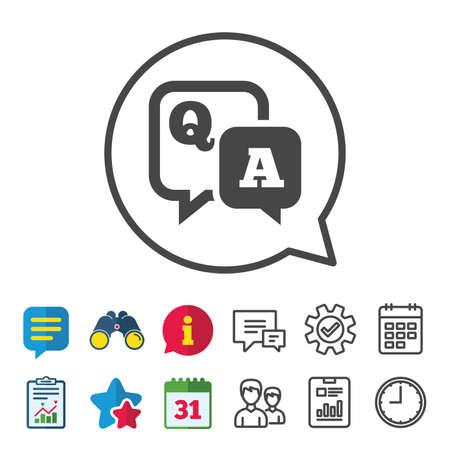 Icône de signe de question réponse. Symbole de Q & A. Signaux d'information, de rapport et de calendrier. Groupe, icônes de ligne de service et de conversation. Vecteur Banque d'images - 84142194