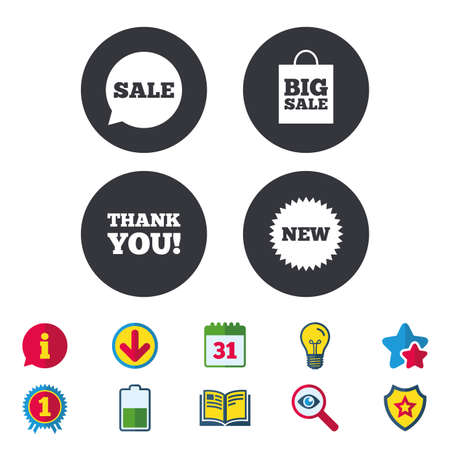 Sale speech bubble icon. Thank you symbol. New star circle sign. Big sale shopping bag. Calendar, Information and Download signs. Stars, Award and Book icons. Light bulb, Shield and Search. Vector