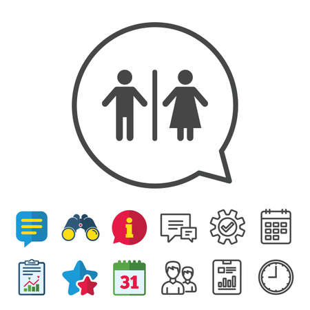 WC sign icon. Toilet symbol. Male and Female toilet. Information, Report and Calendar signs. Group, Service and Chat line icons. Vector Illustration