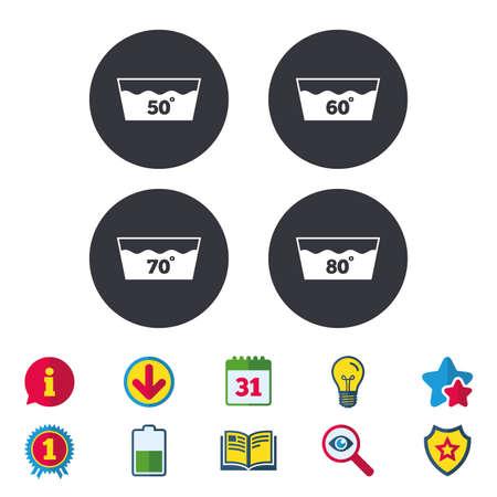 아이콘을 씻으십시오. 50, 60, 70 및 80도 기호로 빨 수있는 기계. 세탁 워시 하우스 표지판. 달력, 정보 및 다운로드 표지판. 별, 수상 및 책 아이콘. 전구,  일러스트