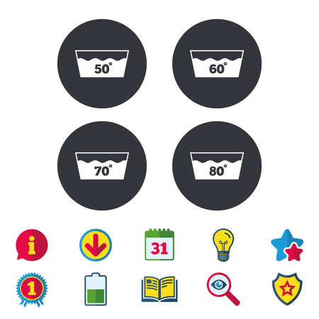 Wash icons. Machine washable at 50, 60, 70 and 80 degrees symbols. Laundry washhouse signs. Calendar, Information and Download signs. Stars, Award and Book icons. Light bulb, Shield and Search. Vector