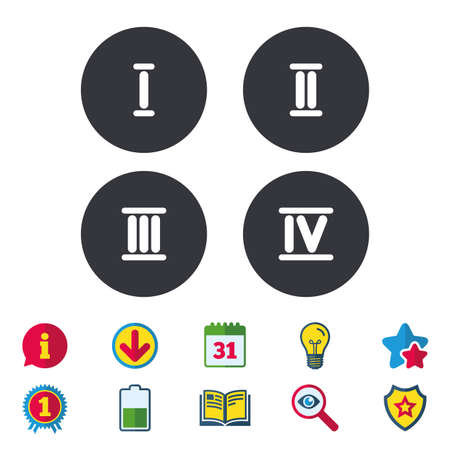 Roman numeral icons. 1, 2, 3 and 4 digit characters. Ancient Rome numeric system. Calendar, Information and Download signs. Stars, Award and Book icons. Light bulb, Shield and Search. Vector