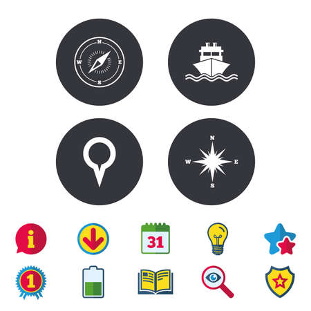 map pin: Windrose navigation compass icons. Shipping delivery sign. Location map pointer symbol. Calendar, Information and Download signs. Stars, Award and Book icons. Light bulb, Shield and Search. Vector