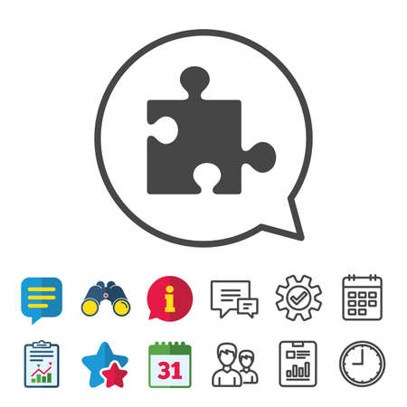 Puzzle piece sign icon. Strategy symbol. Information, Report and Calendar signs. Group, Service and Chat line icons. Vector Illustration