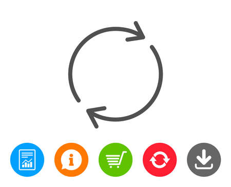 Refresh line icon. Rotation arrow sign. Reset or Reload symbol. Report, Information and Refresh line signs. Shopping cart and Download icons. Editable stroke. Vector Stock Vector - 84142227