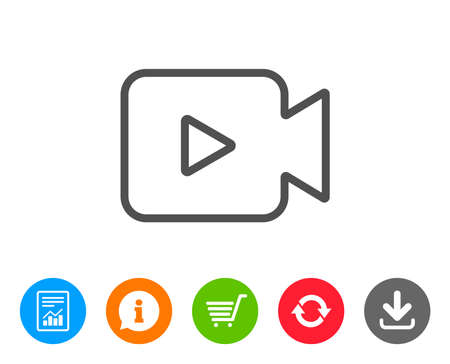 Video Camera line icon. Movie or Cinema sign. Multimedia symbol. Report, Information and Refresh line signs. Shopping cart and Download icons. Editable stroke. Vector Illustration