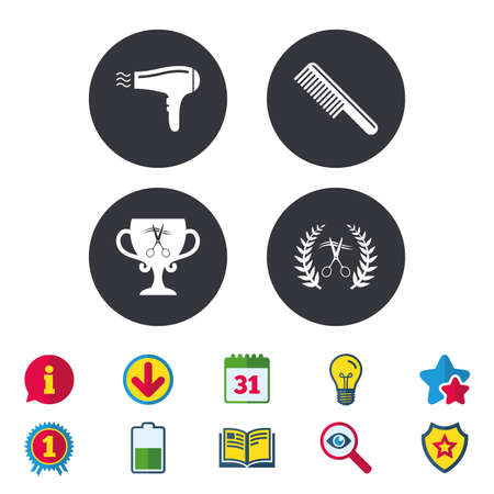 Hairdresser icons. Scissors cut hair symbol. Comb hair with hairdryer symbol. Barbershop laurel wreath winner award. Calendar, Information and Download signs. Stars, Award and Book icons. Vector Illustration