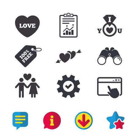 Valentine day love icons. I love you ring symbol. Couple lovers sign. Browser window, Report and Service signs. Binoculars, Information and Download icons. Stars and Chat. Vector