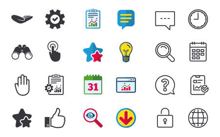 Hand icons. Like thumb up symbol. Click here press sign. Helping donation hand. Chat, Report and Calendar signs. Stars, Statistics and Download icons. Question, Clock and Globe. Vector Illustration