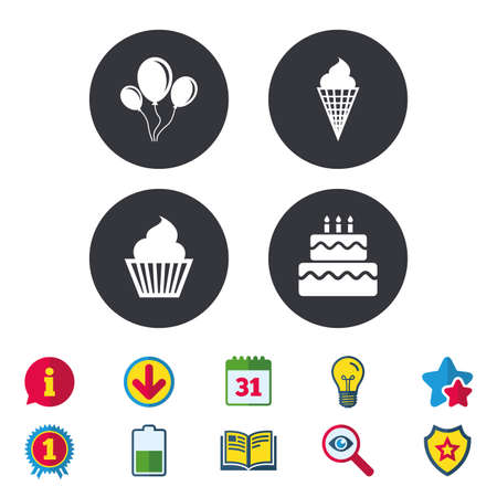 Birthday party icons. Cake with ice cream signs. Air balloons with rope symbol. Calendar, Information and Download signs. Stars, Award and Book icons. Light bulb, Shield and Search. Vector