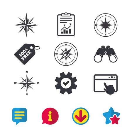 Iconos de navegación de Windrose. Símbolos de la brújula Signo del sistema de coordenadas Ventana del navegador, signos de Informe y Servicio. Binoculares, información y descargar iconos. Estrellas y charla. Vector Foto de archivo - 84142258