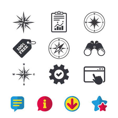 Windrose navigation icons. Compass symbols. Coordinate system sign. Browser window, Report and Service signs. Binoculars, Information and Download icons. Stars and Chat. Vector Çizim