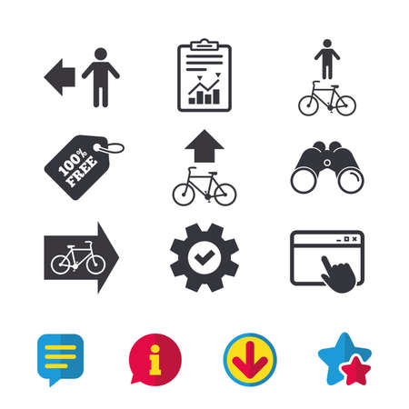Pedestrian road icon. Bicycle path trail sign. Cycle path. Arrow symbol. Browser window, Report and Service signs. Binoculars, Information and Download icons. Stars and Chat. Vector