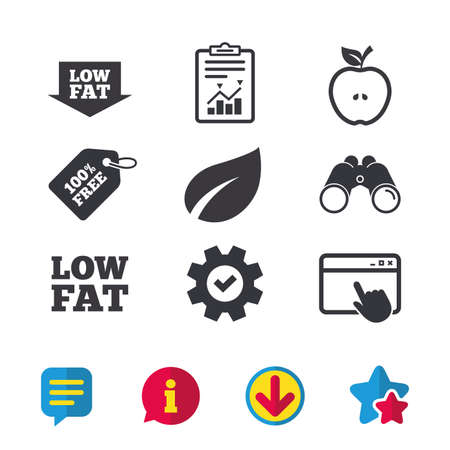 Low fat arrow icons. Diets and vegetarian food signs. Apple with leaf symbol. Browser window, Report and Service signs. Binoculars, Information and Download icons. Stars and Chat. Vector
