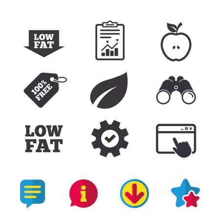 Vetarme pijlpictogrammen. Diëten en vegetarische voedselborden. Apple met bladsymbool. Browservenster, rapport en serviceborden. Verrekijker, informatie en download pictogrammen. Sterren en chatten. Vector