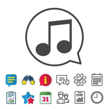 Muziek notitiepictogram teken. Muzikaal symbool. Informatie, rapport en kalenderborden. Groeps-, service- en chatlijnpictogrammen. Vector