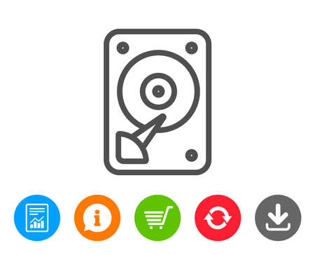 HDD icon. Hard disk storage sign. Hard drive memory symbol. Report, Information and Refresh line signs. Shopping cart and Download icons. Editable stroke. Vector Illustration