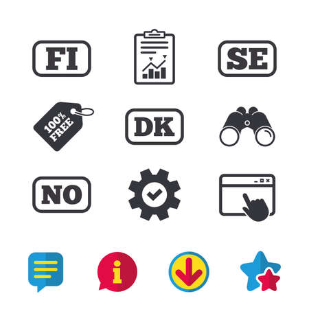 Language icons. FI, DK, SE and NO translation symbols. Finland, Denmark, Sweden and Norwegian languages. Browser window, Report and Service signs. Binoculars, Information and Download icons. Vector