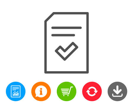 Checked Document line icon. Information File with Check sign. Correct Paper page concept symbol. Report, Information and Refresh line signs. Shopping cart and Download icons. Editable stroke. Vector