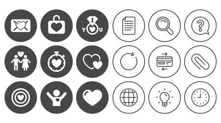 Love, valentine day icons. Target with heart, oath letter and locker symbols. Couple lovers, boyfriend signs. Document, Globe and Clock line signs. Lamp, Magnifier and Paper clip icons. Vector