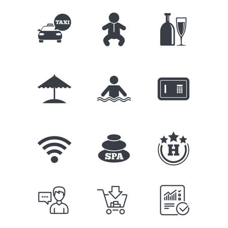 Hotel, apartment service icons. Spa, swimming pool signs. Alcohol drinks, wifi internet and safe symbols. Customer service, Shopping cart and Report line signs. Online shopping and Statistics. Vector