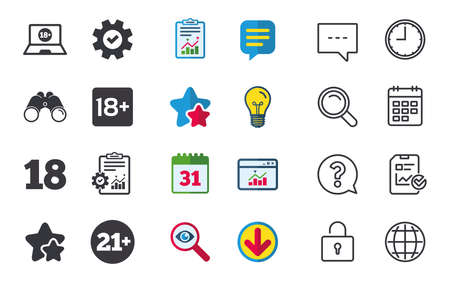Adult content icons. Eighteen and twenty-one plus years sign symbols. Notebook website notice. Chat, Report and Calendar signs. Stars, Statistics and Download icons. Question, Clock and Globe. Vector