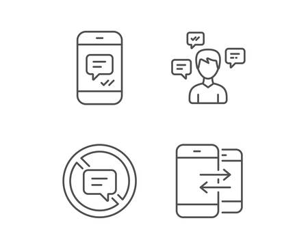 Message, Stop talking and Communication line icons. Group chat, Conversation and SMS signs. Messenger symbol. Quality design elements. Editable stroke. Vector Ilustrace