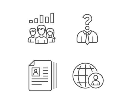 CV, Head hunting and Teamwork line icons. Business Networking, Job Interview and International work signs. Quality design elements. Editable stroke. Vector