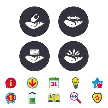 救いの手のアイコン。保護と保険のシンボル。保存お金、車、健康医療保険。農業小麦記号。カレンダー、情報およびダウンロードに署名します。