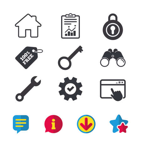 web browser: Home key icon. Wrench service tool symbol. Locker sign. Main page web navigation. Browser window, Report and Service signs. Binoculars, Information and Download icons. Stars and Chat. Vector