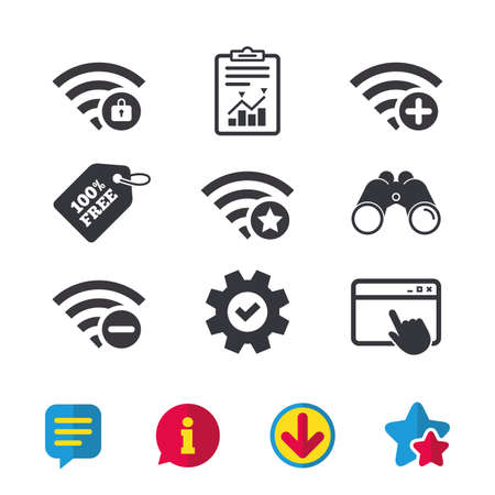 Wifi Wireless Network icons. Wi-fi zone add or remove symbols. Favorite star sign. Password protected Wi-fi. Browser window, Report and Service signs. Binoculars, Information and Download icons
