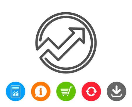 차트 라인 아이콘입니다. 보고서 그래프 또는 매출 성장 사인 서클. 분석 및 통계 데이터 기호입니다. 보고서, 정보 및 새로 고침 줄 표지판. 쇼핑 카트