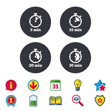 Timer icons. 5, 15, 20 and 30 minutes stopwatch symbols. Calendar, Information and Download signs. Stars, Award and Book icons. Light bulb, Shield and Search. Vector Illustration